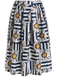 Sunflower Print Pleated Skirt