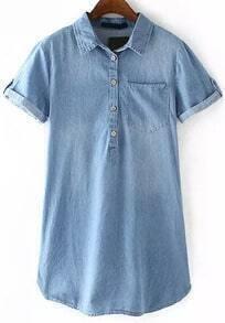 Lapel With Buttons Denim Shirt Dress