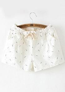 Drawstring Leaves Print White Shorts