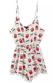Spaghetti Strap Hamburger Fries Print Romper