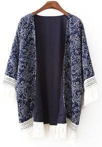 With Tassel Vintage Print Kimono