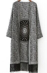 With Tassel Pastel Floral Print Kimono