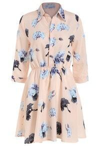 Lapel Flower Print Shirt Dress