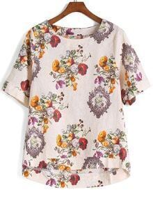 Dip Hem Flower Print Top