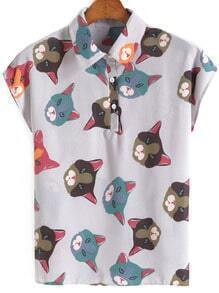Lapel With Buttons Cat Print Chiffon Blouse