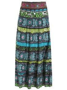 Elastic Waist Tribal Print Skirt