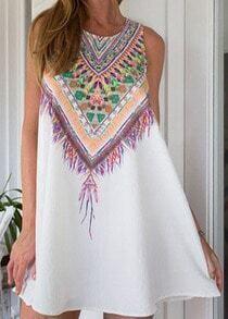 Tribal Print Chiffon Shift White Dress