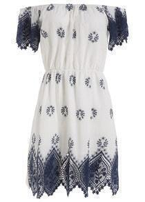 Boat Neck Embroidered Shift Dress