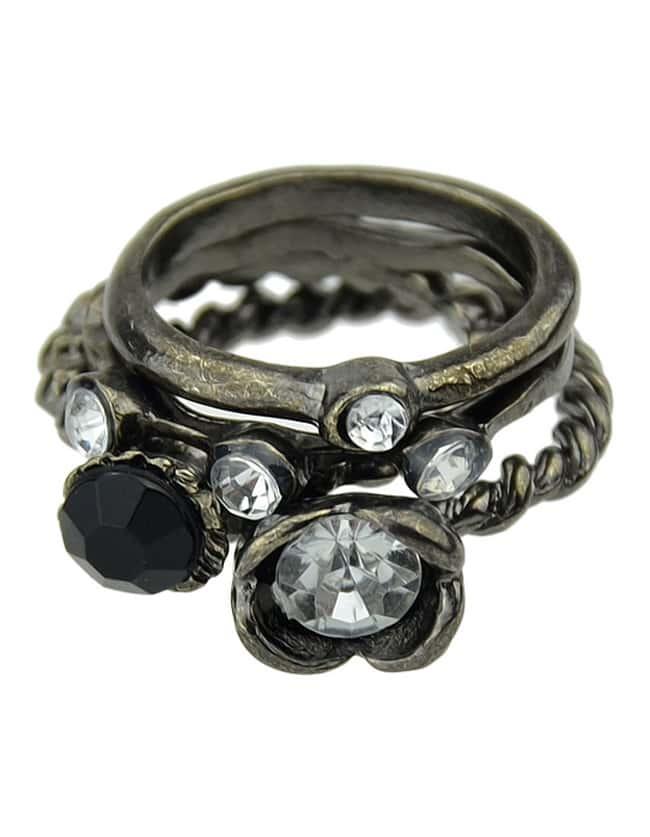Cheap Wholesale Vintage Style Black Ring Set
