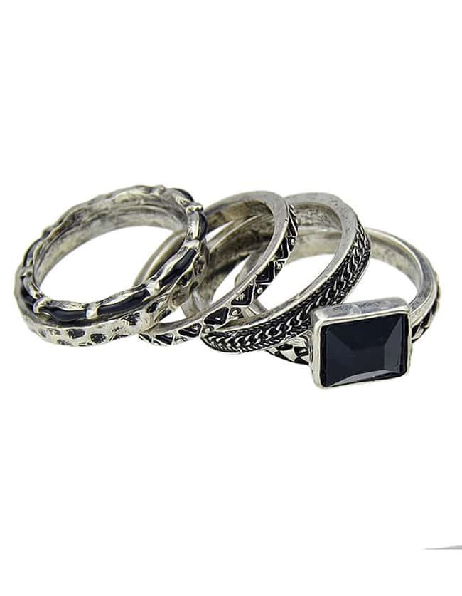 cheap wholesale vintage style four pieces black ring set