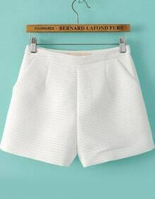 White Zigzag Pattern Shorts