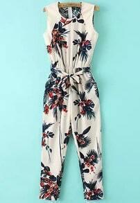 Beige Sleeveless Leaves Print Tie-waist Jumpsuit