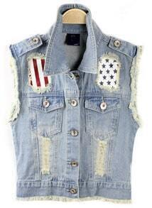 Lapel With Pockets Ripped Denim Vest