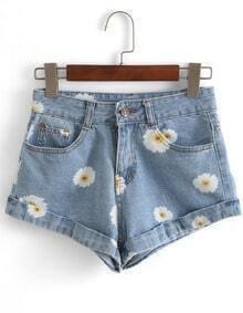 Flower Print Cuffed Denim Shorts