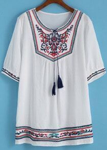 Short Sleeve Embroidered Shift Dress