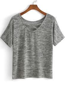 Criss Cross Front Grey T-shirt