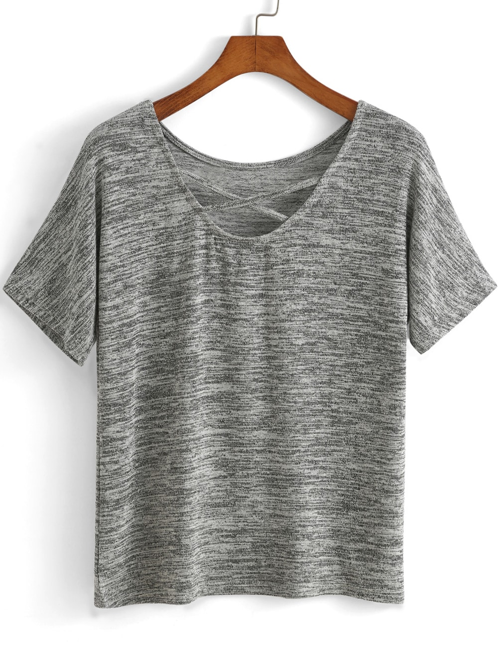 Criss Cross Front Grey T Shirtfor Women Romwe
