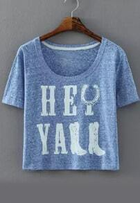 Letter Print Crop Blue T-shirt