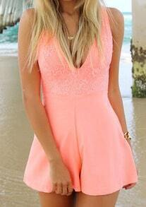 Deep V Neck With Lace Romper