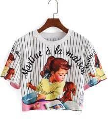 T-shirt court à rayure verticale fille imprimée - Blanc