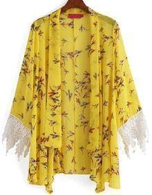Contrast Sleeve Flower Print Loose Kimono