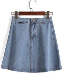 With Button A-Line Denim Skirt