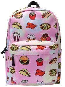 Pizza Print Zipper Backpacks