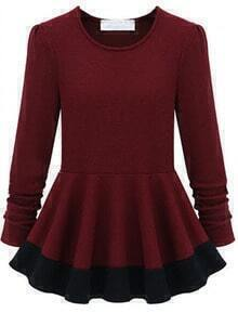 Red Long Sleeve Slim Ruffle Dress