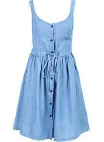Blue Strap Drawstring Waist Buttons Dress