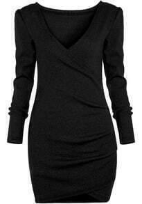Black Deep V Neck Long Sleeve Bodycon Dress