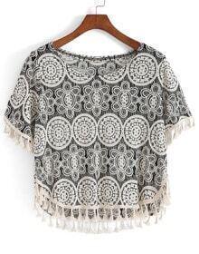 With Tassel Geometric Print T-shirt