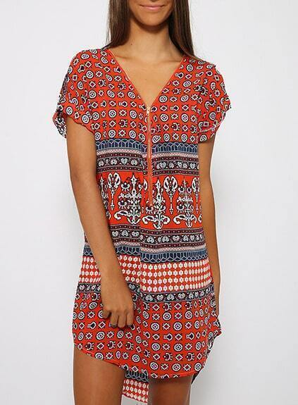 Vintage Print High Low Dress $9.85