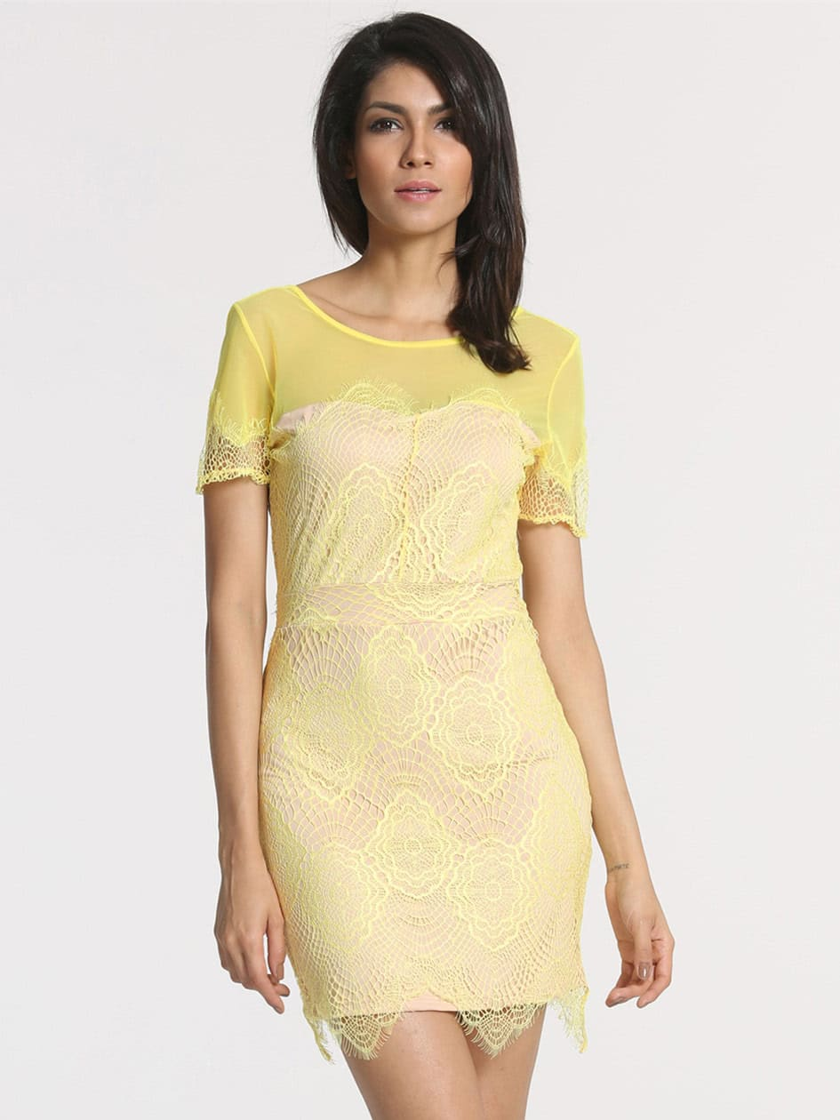 Yellow Short Sleeve V Back Lace Dress - $5.89