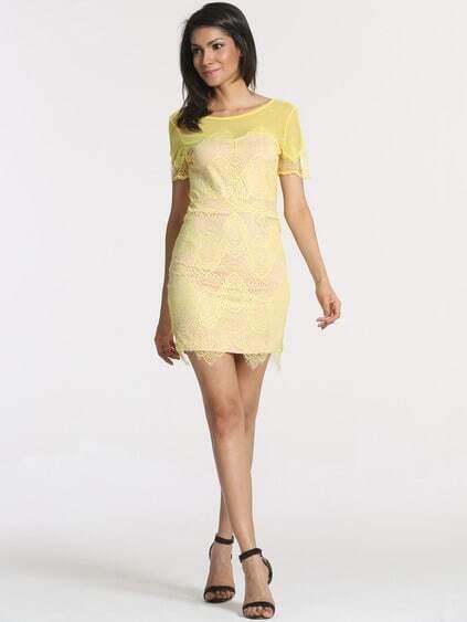 Yellow Short Sleeve V Back Lace Dress
