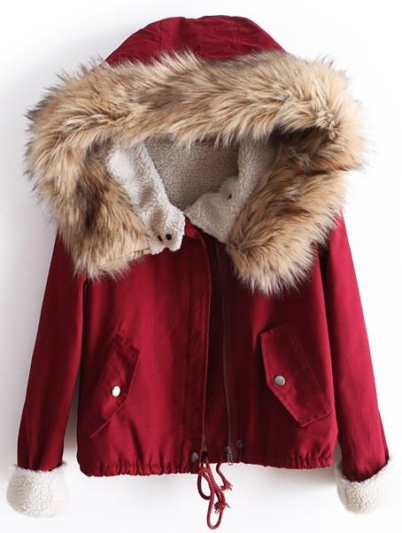 Красный Мех С Капюшоном С Длинным Рукавом Шнурок Пальто