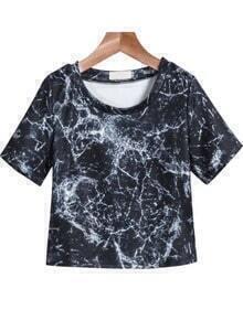 Black Short Sleeve Crack Print Crop T-Shirt