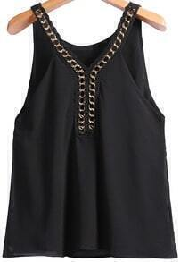 Black Chain Spaghetti Strap Chiffon Vest