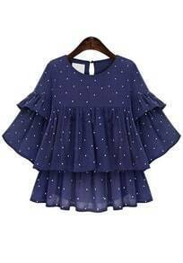Ruffle Sleeve Polka Dot Chiffon Top