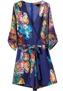 Blue V Neck Tie-Waist Floral Jumpsuit