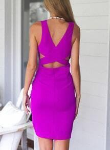 V Neck Hollow Asymmetrical Dress