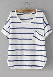 With Pocket Striped Loose T-shirt