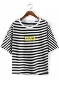 Striped Letter Print Black T-shirt