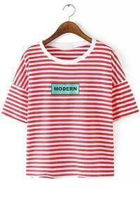 Striped Letter Print Red T-shirt