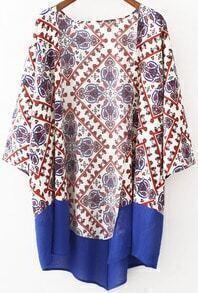 Contrast Hem Vintage Print Kimono