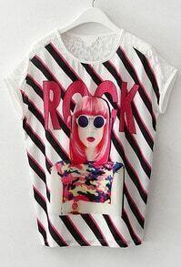 Lace Insert Striped T-shirt