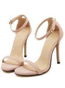 Nude Stiletto High Heel Ankle Strap Sandals