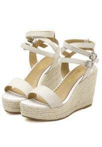 White Buckle Wedge Sandals