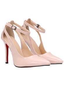 Nude Ankle Strap High Heel PU Pumps