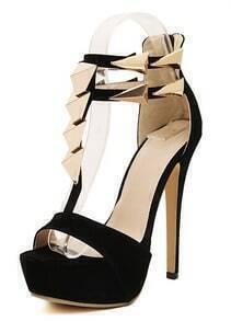 Black Metal Embellished High Heel Sandals