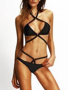 Black Cross Halter Sexy Bikini